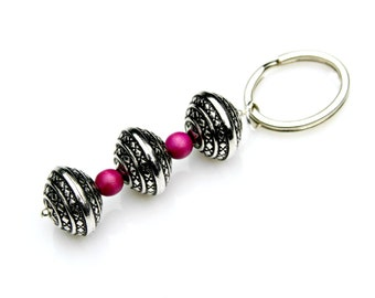 Gift for Her Key Chain Fuchsia Pink Wood Beads Silver Beads Feminine Keychain Country Chic Cowgirl Boho Chic Under 20 Dollars Mei Faith