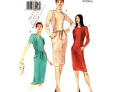 Womens Dress Pattern Vogue 7113 Easy Princess Seam Slim Fitted Dress Side Pockets Womens Sewing Pattern Size 12 14 16 UNCUT