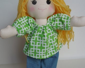 Blonde Long Haired Rag Doll - Doll with Clothes - Doll for Toddler - Handmade Rag Doll - Cloth Doll - Blonde Hair / Yellow Hair doll