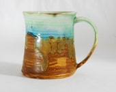 18 oz Mug Porcelain Bronze Sand and Sea Ceramic Mug Large