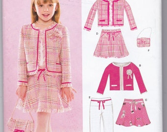 Simplicity New Look 6506 Girls Jacket Purse Drop Waist Skirt Pants Sewing Pattern Size 3-4-5-6-7-8 Fringe Edge Boxy Coat No Buttons Front