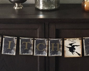 Halloween banner, garland. The Witch Is In ! With die cut witch decoration