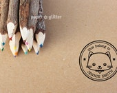 Personalized Rubber Stamp Kitty Cat Round Circle Make Your Own Cute Text (Wood Engraved or Self Inked) 0156
