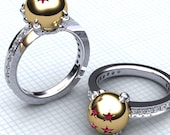 Ladies Dragon and Her Ball Ring, Yellow Gold DBZ Ring for Her Upscale Jewelry Ruby Star Ring Anime Jewelry