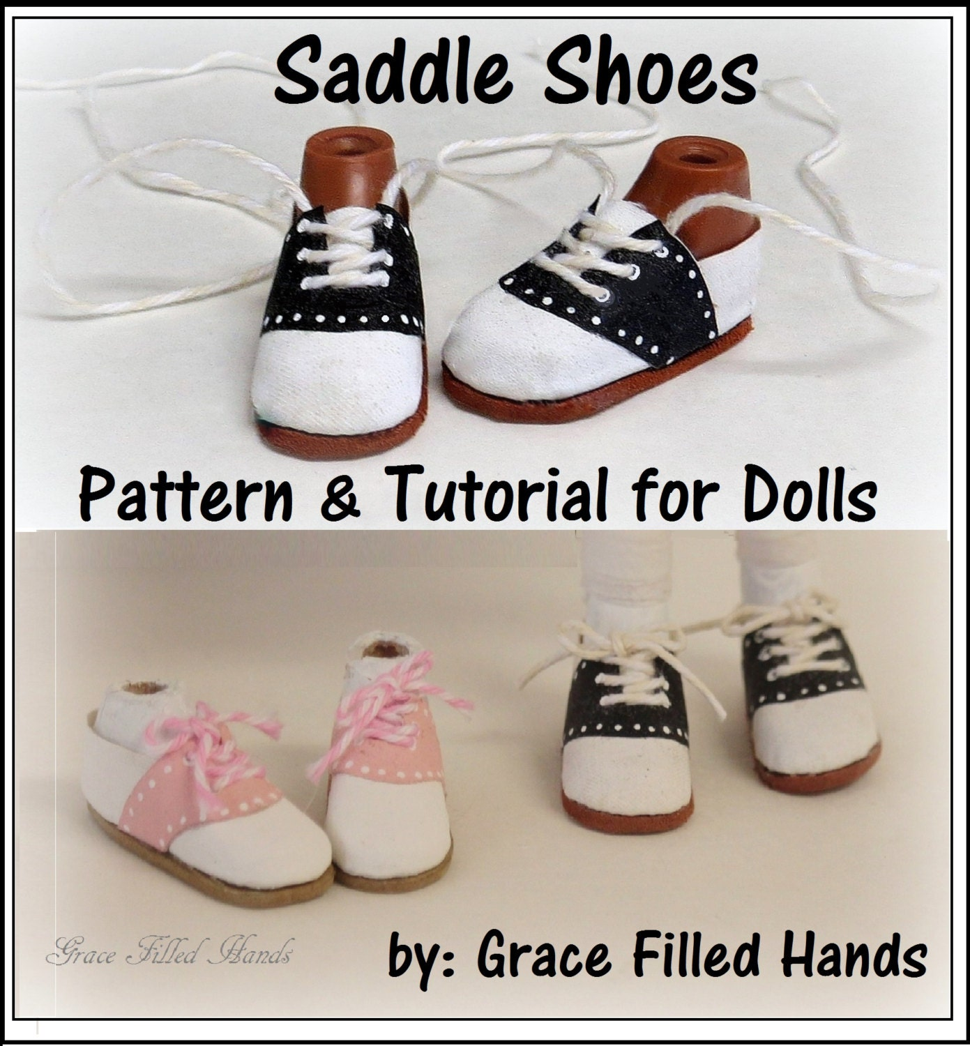 Saddle Shoes No Sew Doll Shoes Pattern Pdf Pictorial Tutorial