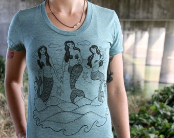 Mermaids tee - american apparel - tri lemon