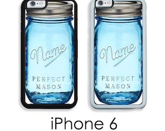 iPhone 6S 6 or PLUS Custom Name Mason Jar Blue Mason Jar Phone Case Country Shabby Cottage Chic Choice of Trim Hard, Rubber or Tough Cases