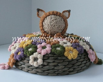 Fox Bonnet and Flower Mat Set Photography prop