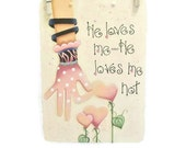 Office Clipboard--He Loves Me,He Loves Me Not--Handpainted