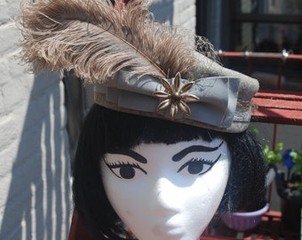 Vintage 1950s Grey Pillbox Hat with Edwardian Feather Plume by Glenover New York