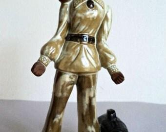 Vintage 1970's Ceramic Figurine // Cute Hippie Girl // Kitsch Home Decor // African American Girl