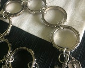 Woman's Repurposed Rosary Bracelet with Vintage Medals
