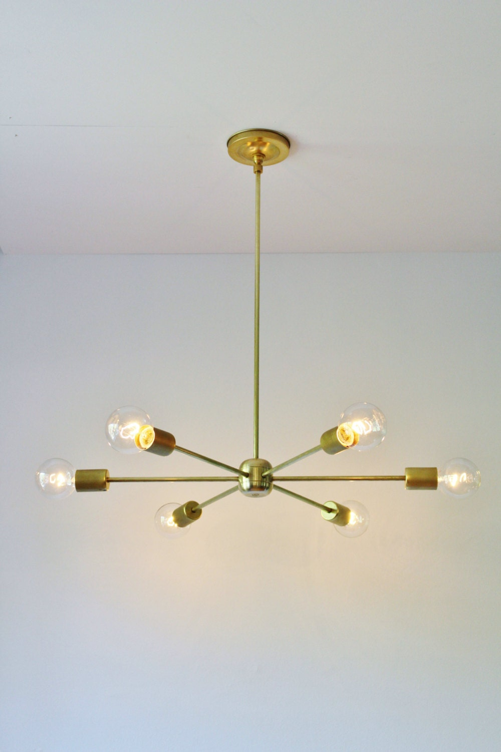 modern brass chandelier mid century starburst sputnik. Black Bedroom Furniture Sets. Home Design Ideas