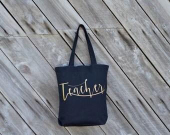 Teacher Tote Bag, Back to School, Black, Gold, Gift
