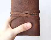 Leatherbound Journal in Brown -Hart- Made to Order Monogrammed Journal Leather Sketchbook Personalized Travel Notebook Gifts Under 50