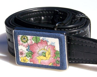 Vintage China Mosaic Belt Buckle with Antique Pink Flowers