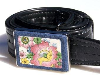 Vintage China Mosaic Belt Buckle Antique Pink Floral