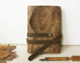 personalized leather journal with vintage style pages, leather journal with custom monogramming - Autumn Leaves