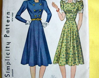 1930s Dress Pattern *   High Fashion Dress with Peg Top Sleeves, Flared Skirt & Fitted Bodice * Simplicity Pattern 3284 * Bust 34
