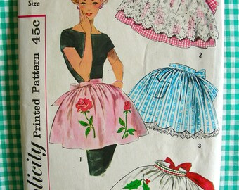 1960 Simplicity  Pattern 3706 - Vintage Set of Four Misses' Half Aprons with Transfers  - UNCUT - One Size