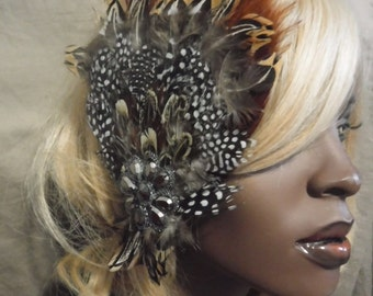 Brown, Beige, Grey & Polka Dot Hair Clip With Burnt Orange Rooster Feathers and Rhinestone Centerpiece
