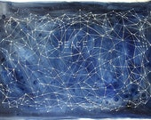 Watercolor Peace Painting- Constellation- Star Charts- Dark Blue, White- Hand Painted Stars- 15x22- Watercolour- Boho Decor- Illustration