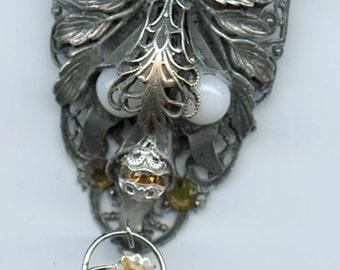 Ornate Vintage Filigree Brooch With Basket Charm