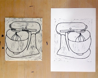 "Linocut Print of Kitchen Aid Mixer 8 x 10"" (20.3 x 25.4cm)"
