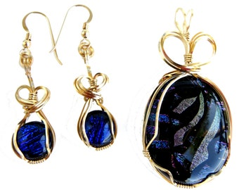 Large Blue, silver and black dichroic glass pendant and earring set