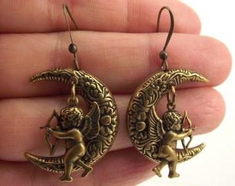 24kt Gold Cupid Earrings, Antiqued Gold Angel Earrings, Ornate Gold Moon Earrings