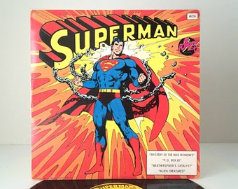 1975 Vintage Superman Record, DC Comics Superhero, 70s Collectible Vinyl Record