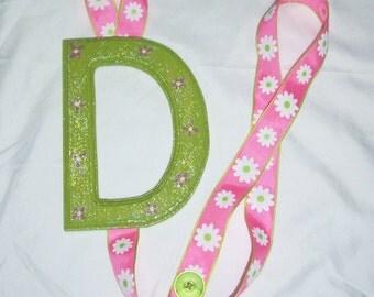 letter D green pink white flower ribbon barrette bow hair accessories holder storage organizer girls room decoration