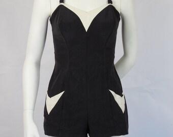 1940's 1950's Vintage Jantzen Sweetheart Bathing Suit Swim Suit Black & White One Piece
