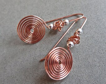 Earrings of Scrolled Copper, Little Copper Swirls, Mixed Metal Earrings, Copper and Silver Earrings, Gift for Her, Gift under 20