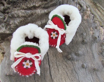 "Baby Moccasins By Desi, Beaded, 3 3/4"" Long, Sheepskin fur, Red Deerskin Leather, Winter Warm Wear, Holiday Shoes, First Christmas Outfit"