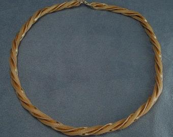 """Goldette Mesh Rope Twist Vintage Necklace - 24"""""""