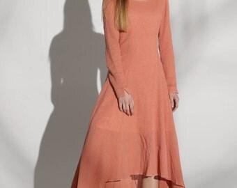 orange dress, linen dress, fit and flare dress, sun dress, womens dress with irregular hemline,modern dress,scoop neck, patchwork dress 1141