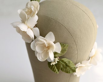 Bridal crown, ivory flower crown, wedding headpiece, circlet, hair wreath, bridal crown, wedding hair accessory - Adaline