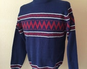 Vintage Men's 80's Sweater, Acrylic, Navy Blue, Striped, Long Sleeve by Andrew Little (L)