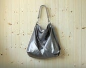 Large shoulder bag, large cross body bag, leather purse, leather duffle bag - ALICE in silver