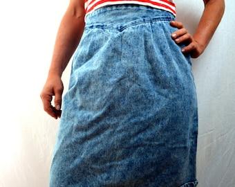 Vintage 80s Acid Wash Denim Skirt
