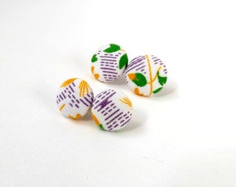 White Purple Yellow Abstract Floral Print Vintage 1970s Fabric Button Stud Earrings 15mm or 19mm