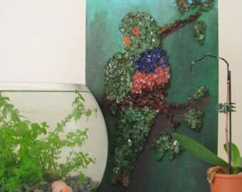 Vintage Lovebird Parrot Wall Art Tropical Jungle Bird Made from 3D Glass Mosaic