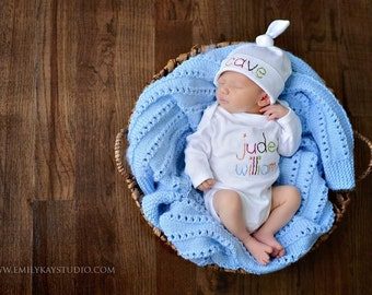 Coming Home Outfit, Personalized Name Baby Boy Onesie, Tie Knot Hat, Name Hat, Embroidered Onesie, Name Onesie, Boy Bodysuit, Newborn Photo