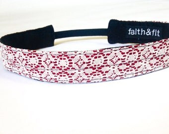 Fitness Headband, Running Headband, Workout Headband in Crimson & Cream- OU