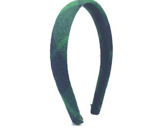 Plaid Headband - Navy Blue & Emerald Green - GIrl Headband, Teen Headband, Adult Headband - Preppy Blair Waldorf Headband