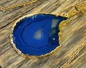 Agate Necklace, Blue Agate Necklace, Agate Slice Pendant, Agate Slice Necklace, Agate Gold Necklace, 14k Gold Fill Chain