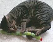 FREE SHIPPING 2 Organic Catnip Cat Toy Snake by Catopia9, hand-crochet, high quality wool/bamboo yarn
