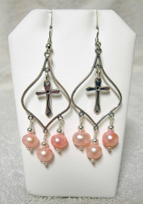 pink pearl with cross earrings e0128 pink by gwendysgems