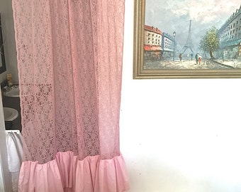Pink Lace Ruffle Curtain